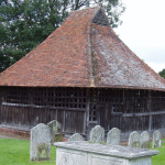 Peg-tiled roof on the detached bell cage in East Bergholt churchyard